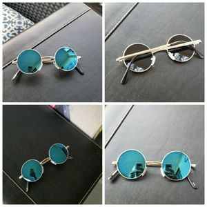 Xs round mirror Sunglasses unisex woman blue silve